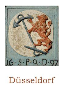 Ansichtskarte mit einem alten Wappen am Haus Ritterstraße 2 in der Düsseldorfer Altstadt